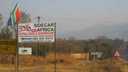 The Sidecar Africa sign where we all gather for RideAlongs